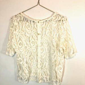 NY COLLECTION, OFF WHITE LACE TOP, PL